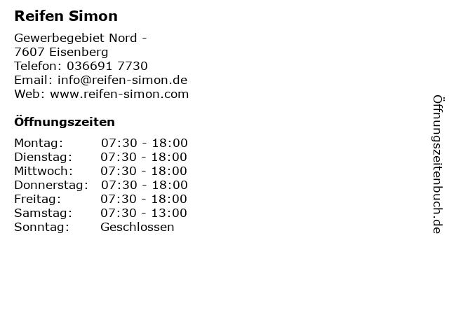 Reifen Simon in Eisenberg: Adresse und Öffnungszeiten