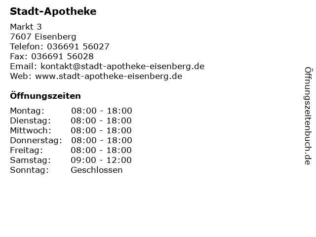 Stadt-Apotheke in Eisenberg: Adresse und Öffnungszeiten
