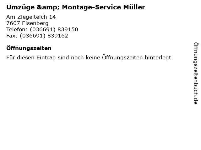 Umzüge & Montage-Service Müller in Eisenberg: Adresse und Öffnungszeiten