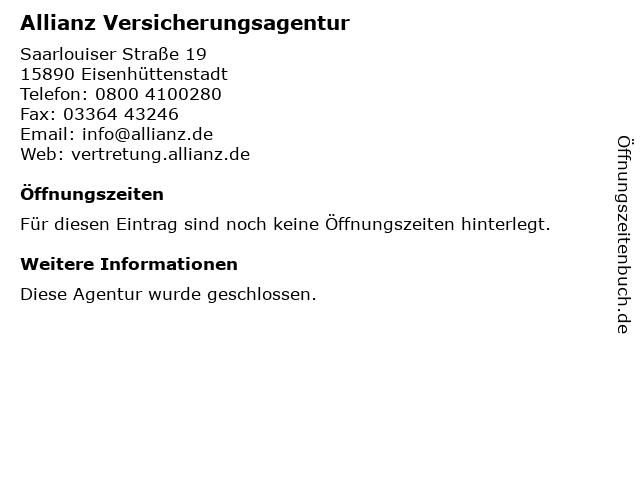 Allianz Versicherung - Steffen Kosian Hauptvertretung in Eisenhüttenstadt: Adresse und Öffnungszeiten