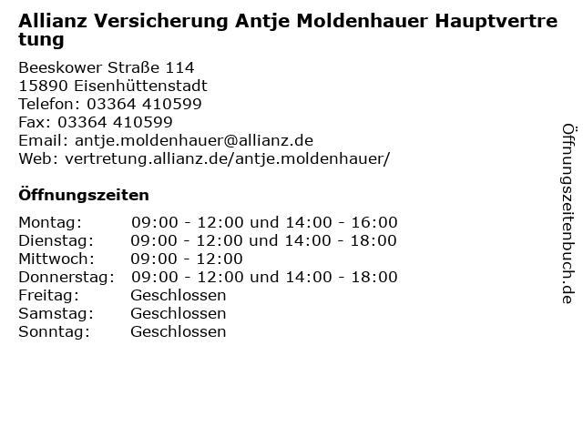 Allianz Vertretung Antje Moldenhauer in Eisenhüttenstadt: Adresse und Öffnungszeiten