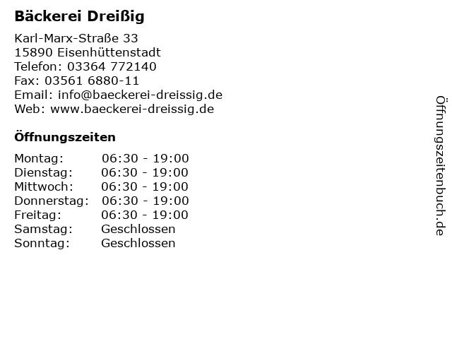 Bäckerei Dreißig in Eisenhüttenstadt: Adresse und Öffnungszeiten