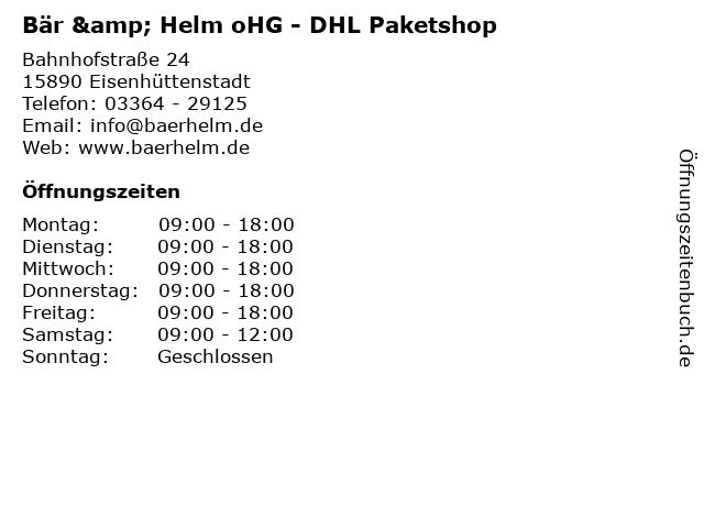 Bär & Helm oHG - DHL Paketshop in Eisenhüttenstadt: Adresse und Öffnungszeiten