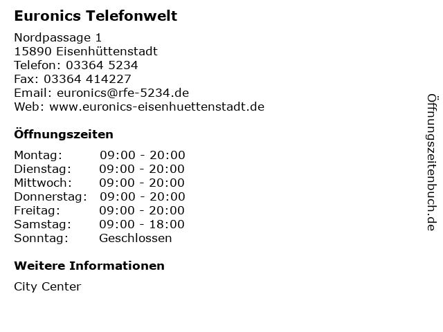 Euronics Telefonwelt in Eisenhüttenstadt: Adresse und Öffnungszeiten