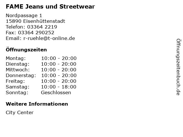 FAME Jeans und Streetwear in Eisenhüttenstadt: Adresse und Öffnungszeiten