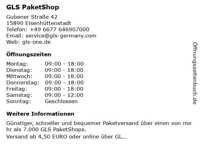 GLS PaketShop in Eisenhüttenstadt: Adresse und Öffnungszeiten
