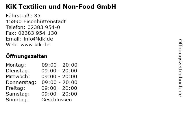 KiK Textilien und Non-Food GmbH in Eisenhüttenstadt: Adresse und Öffnungszeiten