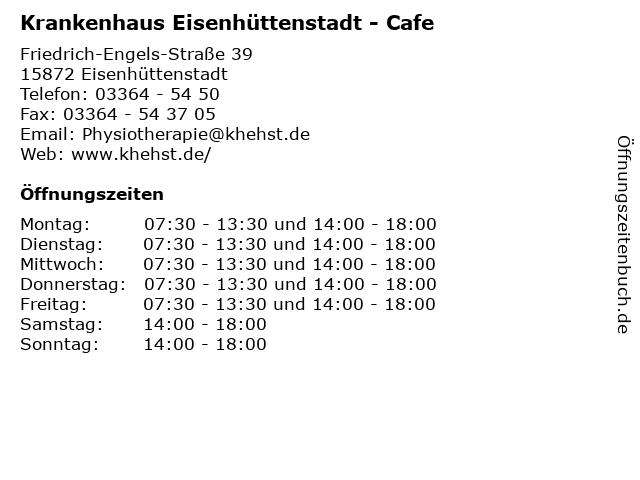 Krankenhaus Eisenhüttenstadt - Cafe in Eisenhüttenstadt: Adresse und Öffnungszeiten