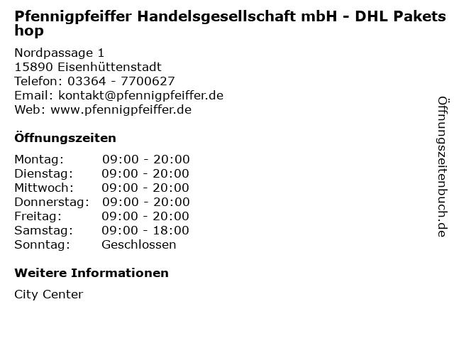 Pfennigpfeiffer Handelsgesellschaft mbH - DHL Paketshop in Eisenhüttenstadt: Adresse und Öffnungszeiten