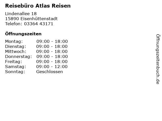 Reisebüro Atlas Reisen in Eisenhüttenstadt: Adresse und Öffnungszeiten
