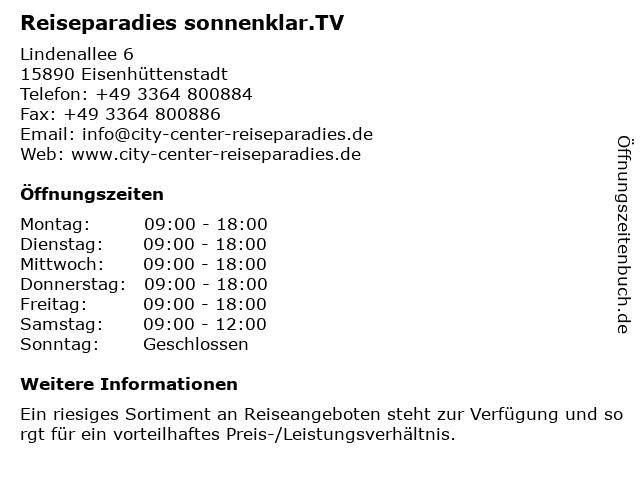Reiseparadies sonnenklar.TV in Eisenhüttenstadt: Adresse und Öffnungszeiten