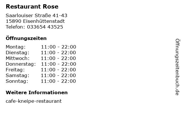 Restaurant Rose in Eisenhüttenstadt: Adresse und Öffnungszeiten