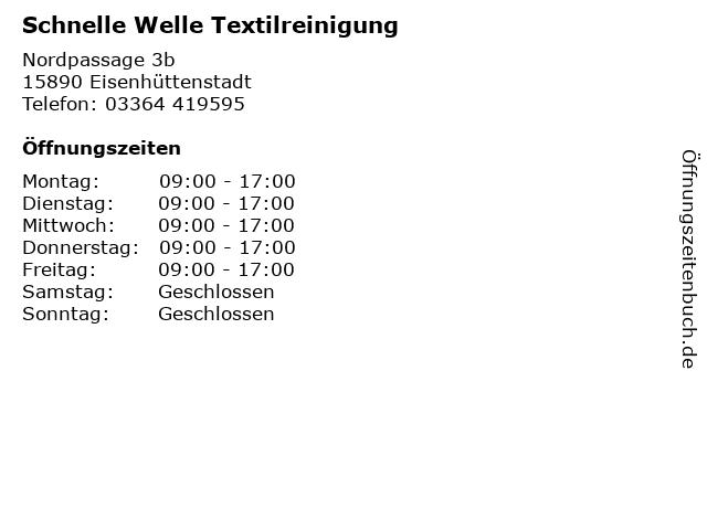 Schnelle Welle Textilreinigung in Eisenhüttenstadt: Adresse und Öffnungszeiten