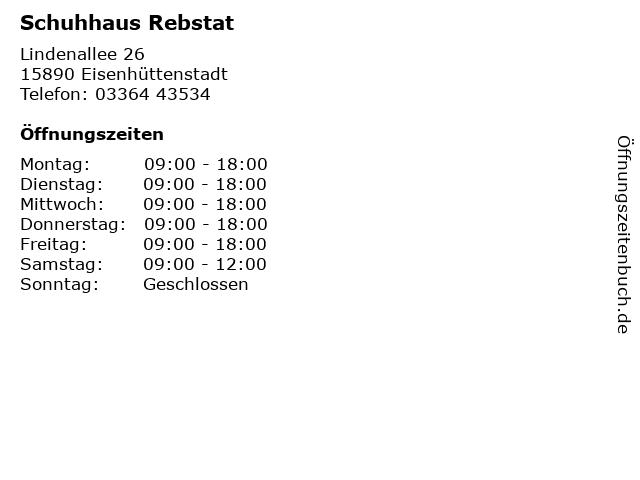 Schuhhaus Rebstat in Eisenhüttenstadt: Adresse und Öffnungszeiten