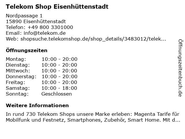Telekom Shop Eisenhüttenstadt in Eisenhüttenstadt: Adresse und Öffnungszeiten