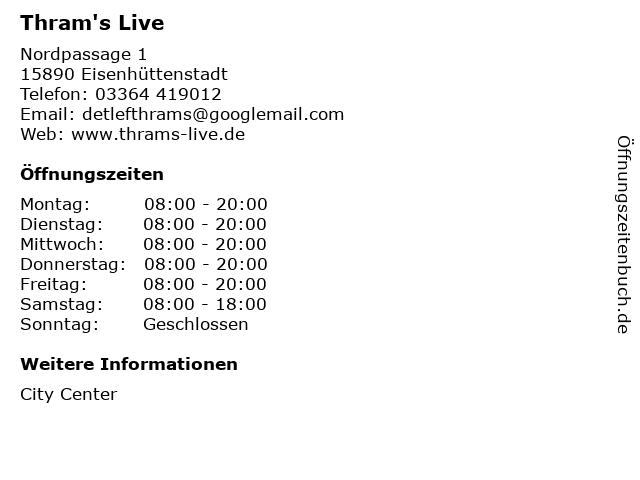 Thram's Live in Eisenhüttenstadt: Adresse und Öffnungszeiten