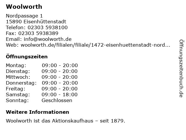 Woolworth in Eisenhüttenstadt: Adresse und Öffnungszeiten