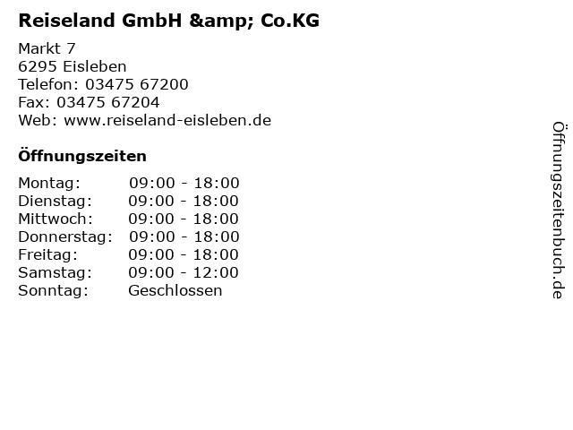 Reiseland GmbH & Co.KG in Eisleben: Adresse und Öffnungszeiten