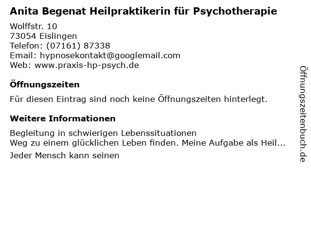 Anita Begenat Heilpraktikerin für Psychotherapie in Eislingen: Adresse und Öffnungszeiten