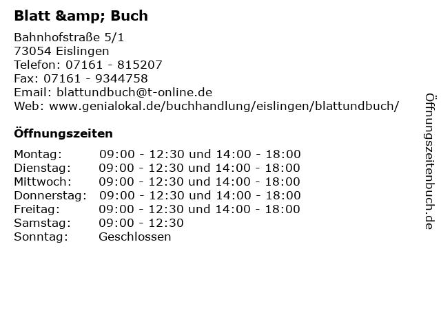Blatt & Buch in Eislingen: Adresse und Öffnungszeiten