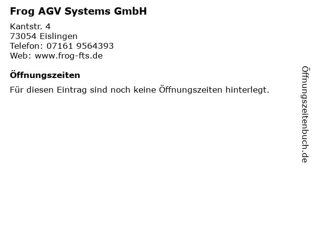 Frog AGV Systems GmbH in Eislingen: Adresse und Öffnungszeiten