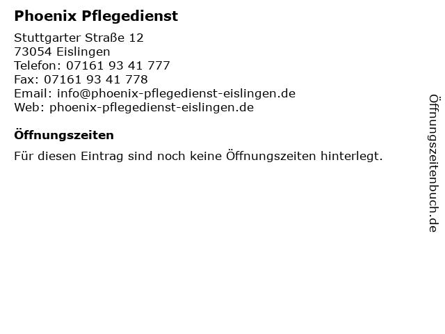 Phoenix Pflegedienst in Eislingen: Adresse und Öffnungszeiten