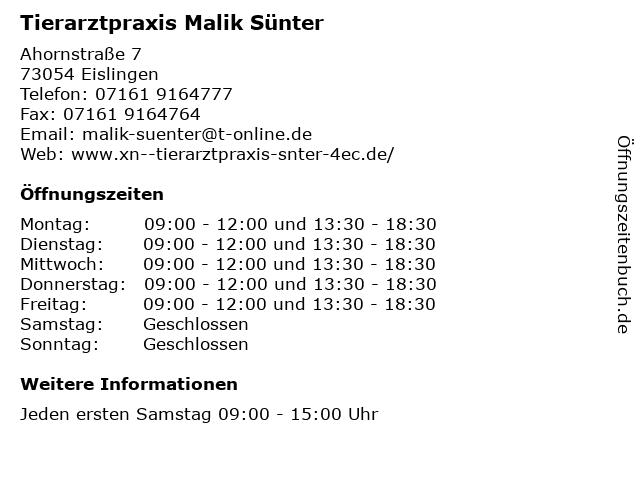 Tierarztpraxis Malik Sünter in Eislingen: Adresse und Öffnungszeiten