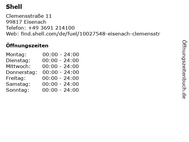 Shell Tankstelle in Eisnach: Adresse und Öffnungszeiten