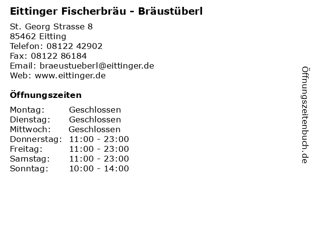 Eittinger Fischerbräu - Bräustüberl in Eitting: Adresse und Öffnungszeiten