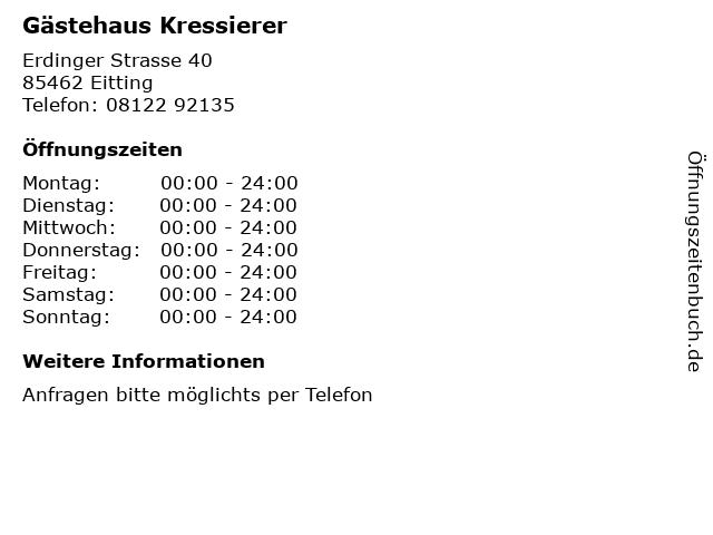 Gästehaus Kressierer in Eitting: Adresse und Öffnungszeiten