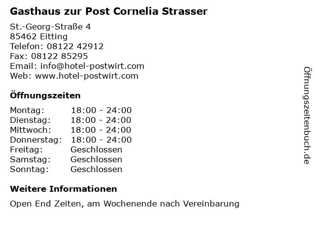 Gasthaus zur Post Cornelia Strasser in Eitting: Adresse und Öffnungszeiten