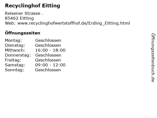 Recyclinghof Eitting in Eitting: Adresse und Öffnungszeiten