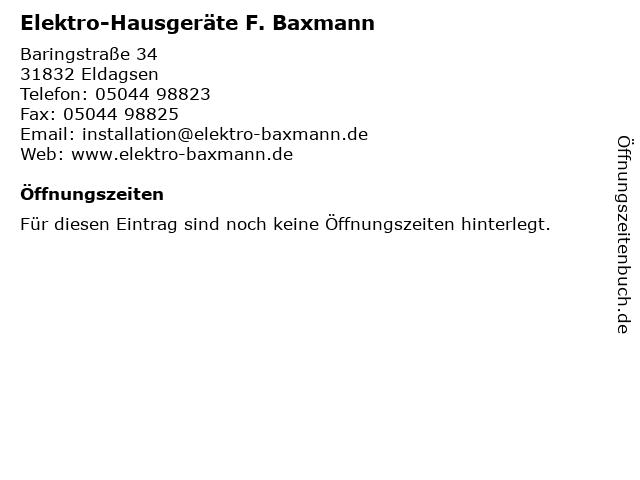 Elektro-Hausgeräte F. Baxmann in Eldagsen: Adresse und Öffnungszeiten