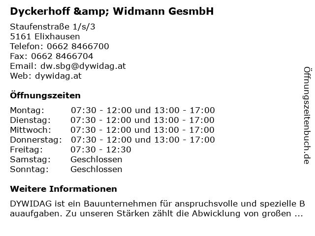 Dyckerhoff & Widmann GesmbH in Elixhausen: Adresse und Öffnungszeiten