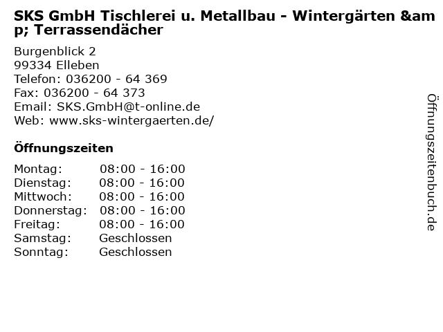SKS GmbH Tischlerei u. Metallbau - Wintergärten & Terrassendächer in Elleben: Adresse und Öffnungszeiten