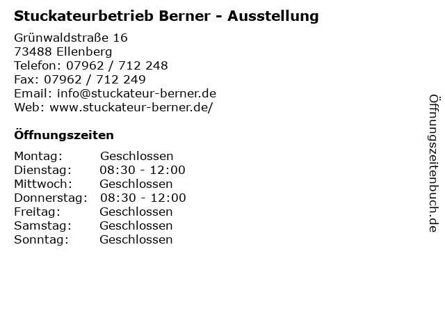 Stuckateurbetrieb Berner - Ausstellung in Ellenberg: Adresse und Öffnungszeiten