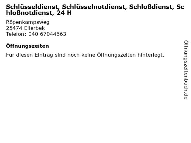 Schlüsseldienst, Schlüsselnotdienst, Schloßdienst, Schloßnotdienst, 24 H in Ellerbek: Adresse und Öffnungszeiten
