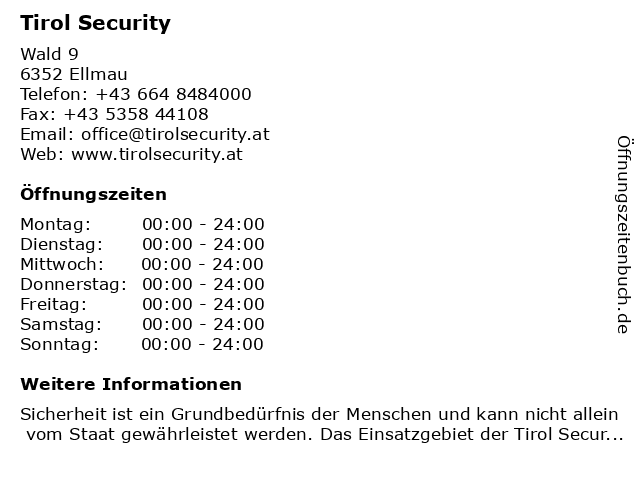 Tirol Security GmbH in Ellmau: Adresse und Öffnungszeiten