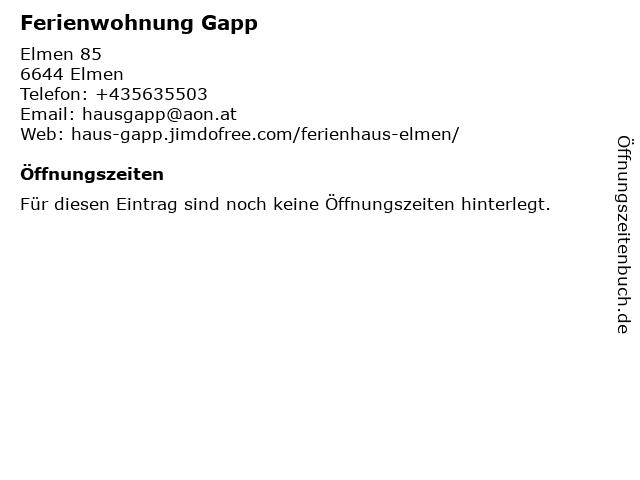 Ferienwohnung Gapp in Elmen: Adresse und Öffnungszeiten