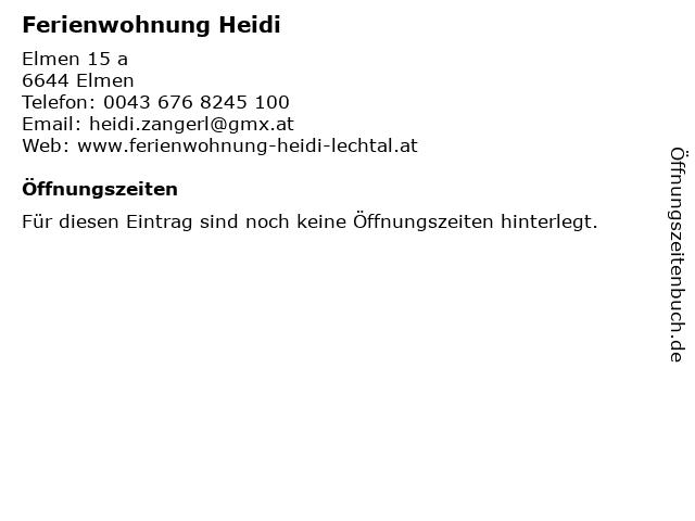 Ferienwohnung Heidi in Elmen: Adresse und Öffnungszeiten