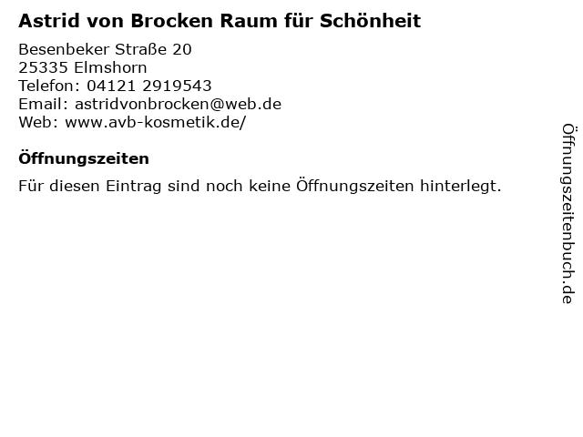 Astrid von Brocken Raum für Schönheit in Elmshorn: Adresse und Öffnungszeiten