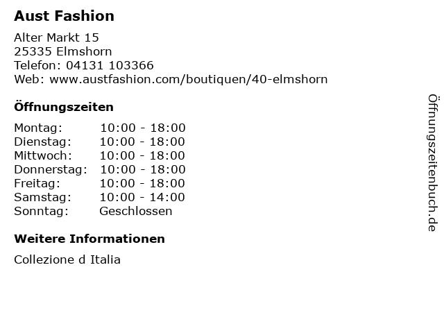 Aust Fashion in Elmshorn: Adresse und Öffnungszeiten
