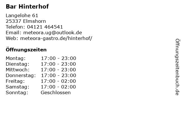 ᐅ Offnungszeiten Bars Hinterhof Langelohe 61 In Elmshorn