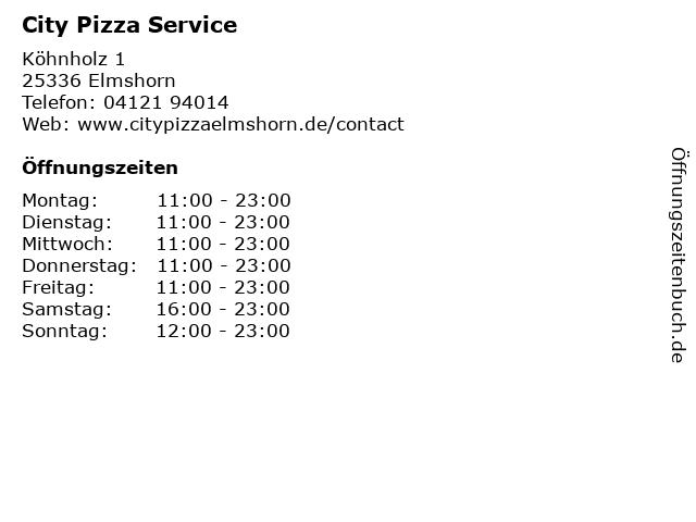 City Pizza Service in Elmshorn: Adresse und Öffnungszeiten
