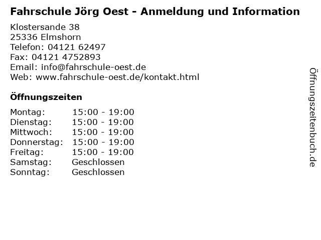 Fahrschule Jörg Oest - Anmeldung und Information in Elmshorn: Adresse und Öffnungszeiten
