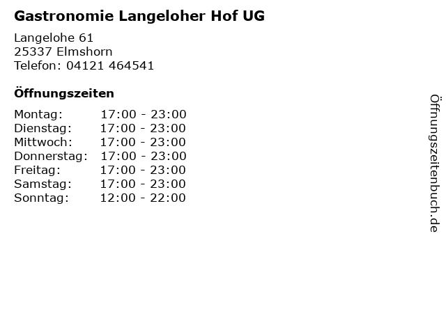 ᐅ Offnungszeiten Gastronomie Langeloher Hof Ug
