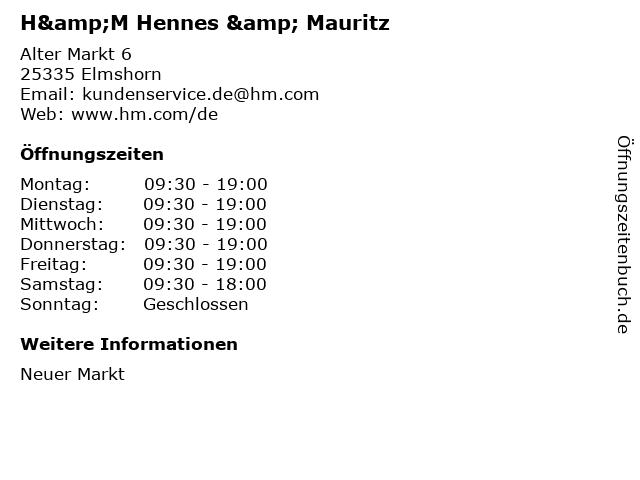 H&M Hennes & Mauritz in Elmshorn: Adresse und Öffnungszeiten