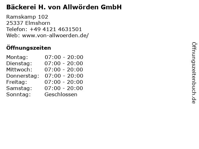 H. von Allwörden GmbH in Elmshorn: Adresse und Öffnungszeiten