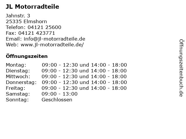JL Motorradteile in Elmshorn: Adresse und Öffnungszeiten