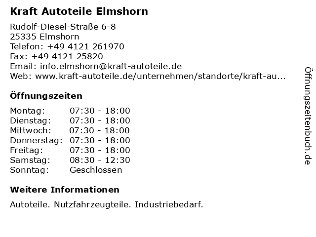 Kraft Autoteile Elmshorn in Elmshorn: Adresse und Öffnungszeiten